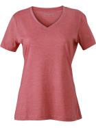 James & Nicholson | JN 973 - Damen V-Ausschnitt Melange T-Shirt