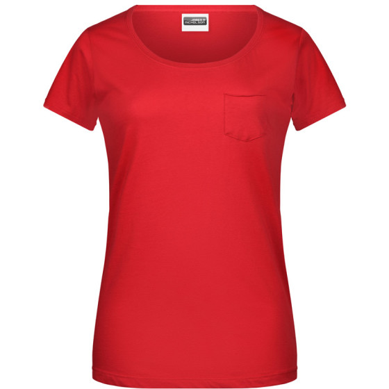 James & Nicholson | JN 8003 - Damen Bio T-Shirt mit Brusttasche