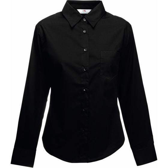 F.O.L. | Lady-Fit Poplin Shirt LSL - Popeline Bluse langarm