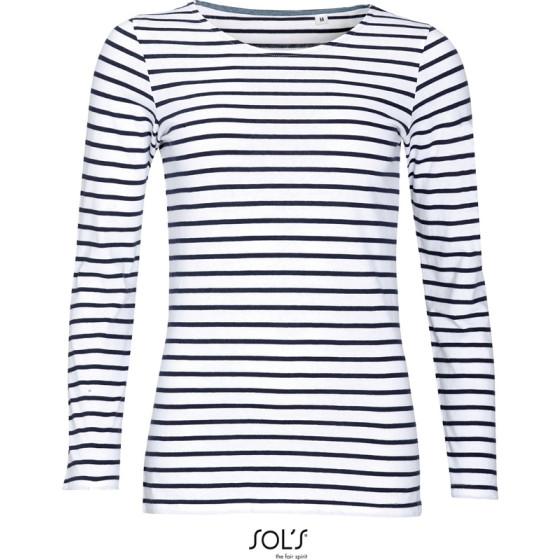 SOLS | Marine Women - Damen T-Shirt langarm gestreift