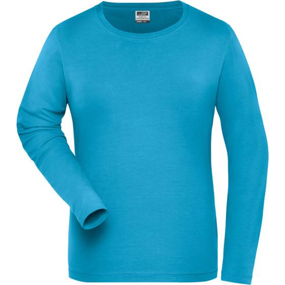 James & Nicholson   JN 1803 - Damen Bio Workwear Stretch T-Shirt langarm - Solid
